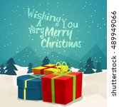 colorful gift boxes on winter... | Shutterstock .eps vector #489949066