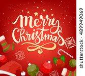 merry christmas celebration... | Shutterstock . vector #489949069