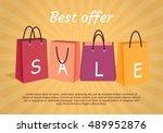 sale vector banner. flat style. ... | Shutterstock .eps vector #489952876