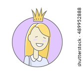 girl in crown avatar userpic... | Shutterstock .eps vector #489952888
