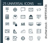 universal icons set on research ...