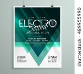 beautiful electro club party... | Shutterstock .eps vector #489955990