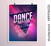 dance club party flyer template | Shutterstock .eps vector #489956020