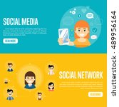 social media network banners... | Shutterstock .eps vector #489956164