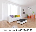 white room interior with... | Shutterstock . vector #489961558