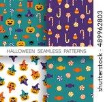 Set Of Cute Halloween Patterns