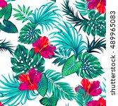 amazing vector tropical pattern ... | Shutterstock .eps vector #489965083