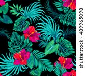 amazing vector tropical pattern.... | Shutterstock .eps vector #489965098