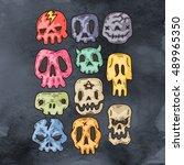 set of cartoon halloween skull. ... | Shutterstock .eps vector #489965350
