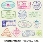 international travel visa... | Shutterstock .eps vector #489967726