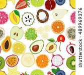 seamless pattern with exotic...   Shutterstock .eps vector #489969376