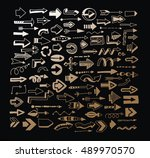 set of hand drawn arrows. 100 ... | Shutterstock . vector #489970570