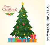 decorated christmas tree with... | Shutterstock .eps vector #489971158