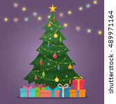 decorated christmas tree with... | Shutterstock .eps vector #489971164