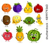 cartoon funny fruits characters ... | Shutterstock .eps vector #489979360