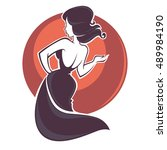 singing and dancing beautiful... | Shutterstock .eps vector #489984190