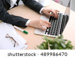 close up of business woman ... | Shutterstock . vector #489986470