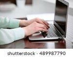 business woman hands in a green ... | Shutterstock . vector #489987790