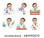 male scientist characters at... | Shutterstock .eps vector #489990070