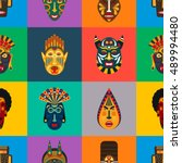 ethnic masks in flat style... | Shutterstock .eps vector #489994480