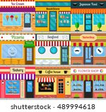 set of different store fronts... | Shutterstock .eps vector #489994618