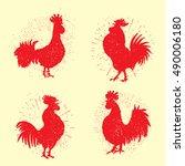 Set Of Rooster Labels. Vintage...