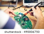 tech tests electronic equipment ... | Shutterstock . vector #490006750