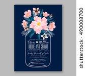 romantic pink peony bouquet...   Shutterstock .eps vector #490008700