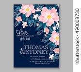 romantic pink peony bouquet... | Shutterstock .eps vector #490008730