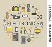 electronics technology line art ... | Shutterstock .eps vector #490009369
