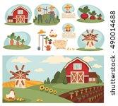 farm village landscape... | Shutterstock .eps vector #490014688