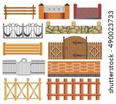 fence set of different fence... | Shutterstock .eps vector #490023733