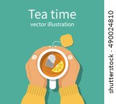 cup of tea in hands of men.... | Shutterstock .eps vector #490024810