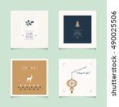 set of decorative christmas... | Shutterstock .eps vector #490025506