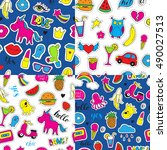 set of seamless vector patterns ... | Shutterstock .eps vector #490027513