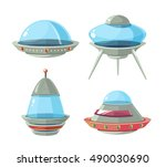 cartoon alien spaceship ... | Shutterstock .eps vector #490030690