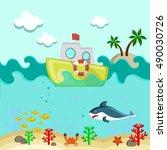 underwater bottom | Shutterstock .eps vector #490030726