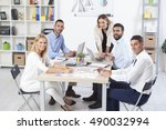 group of business people having ...   Shutterstock . vector #490032994