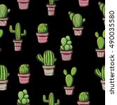 cactus on a black background....   Shutterstock .eps vector #490035580