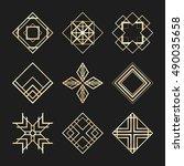 sacred geometry signs. art deco ... | Shutterstock .eps vector #490035658