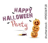 halloween party poster with... | Shutterstock .eps vector #490036918