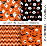 set of cute halloween patterns | Shutterstock .eps vector #490038100