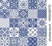 big set of tiles background.... | Shutterstock . vector #490038970