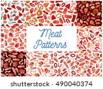 meat and sausages seamless... | Shutterstock .eps vector #490040374