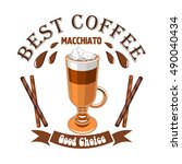 macchiato coffee. cafe emblem.... | Shutterstock .eps vector #490040434
