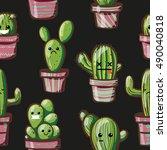 kawaii cacti. seamless texture... | Shutterstock .eps vector #490040818