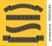 film strip frame four set.... | Shutterstock .eps vector #490042183
