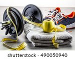 athletic workout  running and... | Shutterstock . vector #490050940