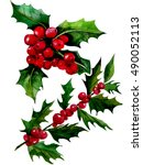 Watercolor Christmas Holly