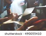 startup programming team.... | Shutterstock . vector #490055410